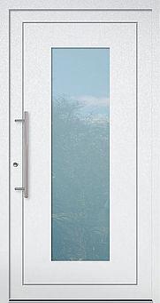 Weiße Haustür mit viel Glas