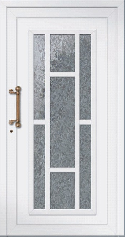 Klassische Haustür weiss aus Aluminium Modell OLAND