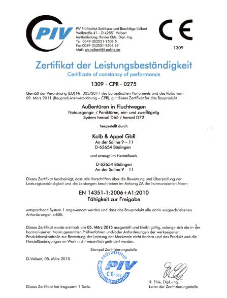 Zertifikat Hersteller Paniktüren Notausgangstüren